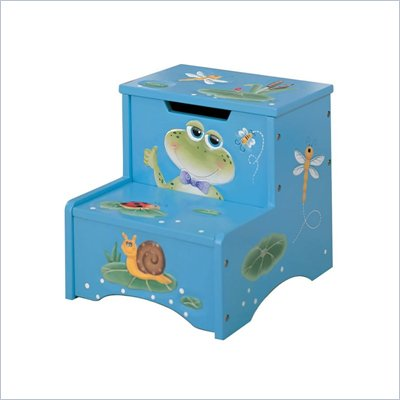 Teamson Kids Froggy Hand Painted Kids Step Stool with Storage