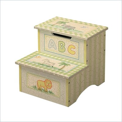 Teamson Kids Safari Hand Painted Crackle Finish Kids Step Stool