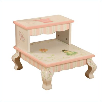 Teamson Kids Princess & Frog Crown Hand Painted Kids Step Stool