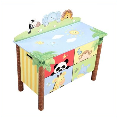 Teamson Kids Sunny Safari Hand Painted Kids Toy Chest/Box