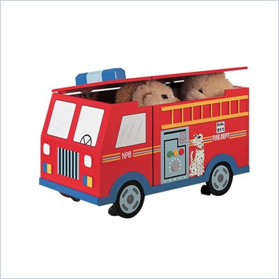Teamson Kids Wings &amp; Wheels Hand Painted Fire Engine Trunk on Wheels