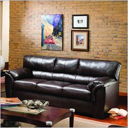 Simmons Upholstery London Bonded Leather Full Sleeper Sofa in Walnut Best Price
