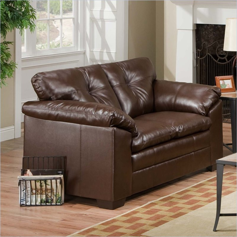 Simmons Upholstery Loveseat In Sebring Coffeebean Leather Sectionals Sofas With Recliners