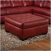 Simmons Upholstery Cocktail Ottoman in Soho Cardinal Bonded Leather