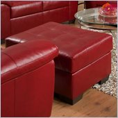 Simmons Upholstery Ottoman in Soho Bonded Leather in Cardinal