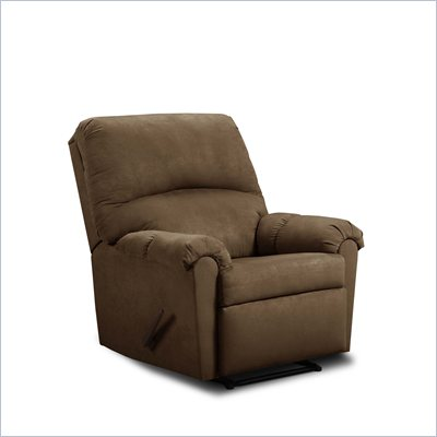 Simmons Upholstery Rocker Recliner Chair in Flat Suede Chocolate