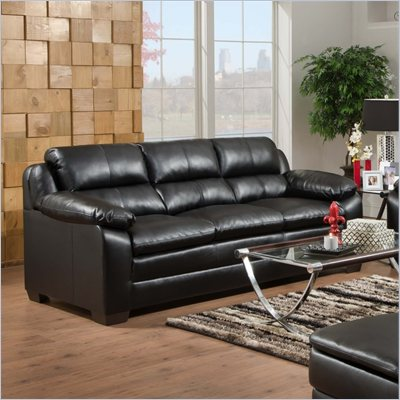 Simmons Upholstery Sofa in Soho Bonded Leather Match Onyx