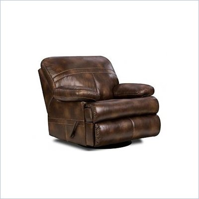 Simmons Upholstery Swivel Rocker Recliner Chair in Nubuck Bonded Leather