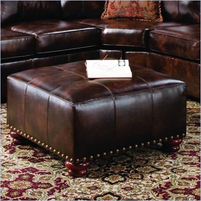 Simmons Upholstery Savannah Big Square Leather Cocktail Ottoman in Tobacco Brown