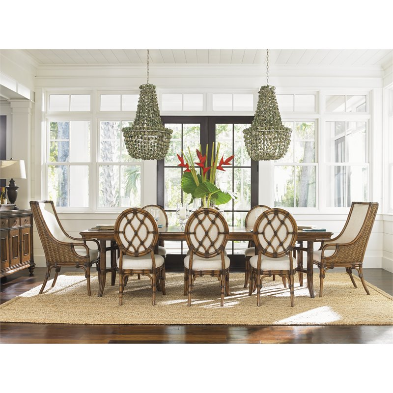 Tommy Bahama Bali Hai 9 Piece Dining Set in Warm Brown