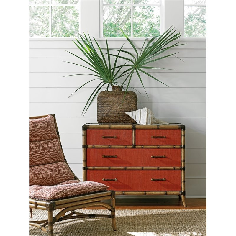 Tommy Bahama Twin Palms 4 Drawer Chest in Red Coral
