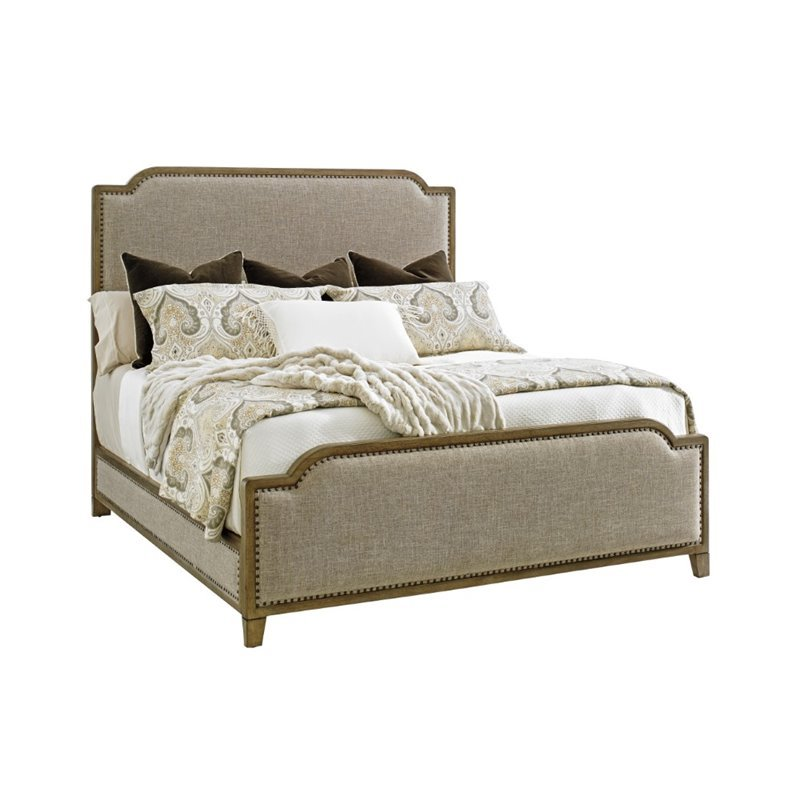 Tommy Bahama Cypress Point Upholstered King Panel Bed in Gray