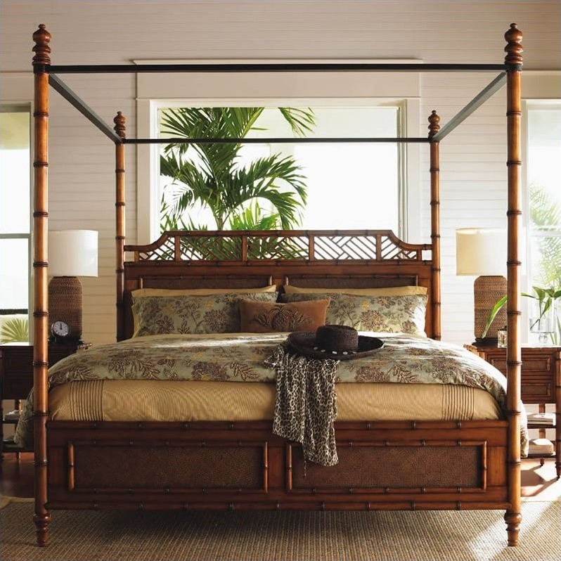 Island Estate West Indies Wood Poster Canopy Bed 5 Piece Bedroom Set