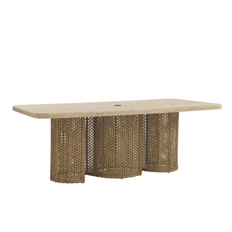 Tommy Bahama Home Aviano Weatherstone Top Wicker Dining Table