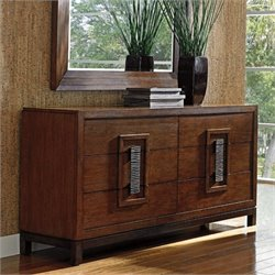 Tommy Bahama Island Fusion Heron Island Double Dresser in Dark Hickory