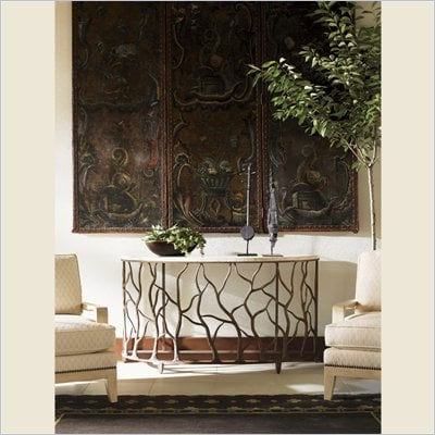 Tommy Bahama Road To Canberra Bannister Garden Console Table in Moderately Distressed