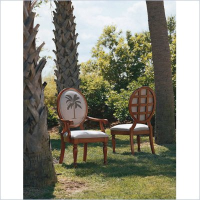 Tommy Bahama Home Palm Tree Oval Back Fabric Arm Chair  in Medium Antiqued Brown