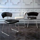 Modloft Delancy Dining Chair in Black Leather