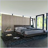 Modloft Broome Dusty Grey Leather Bed 3 Piece Bedroom Set