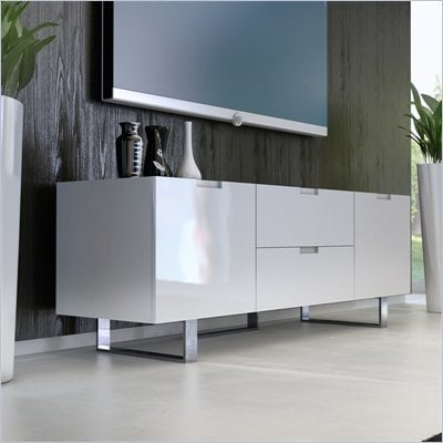 Modloft Eldridge 59&quot; Entertainment Unit in White Lacquer
