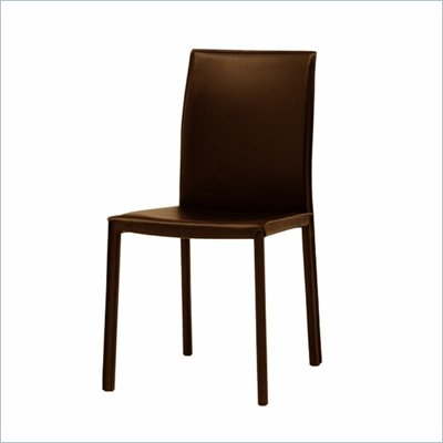 Modloft Varick Modern Art Leatherette Dining Side Chair in Brown