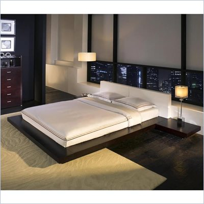 Modloft Worth Platform Bed in Wenge and White Leather