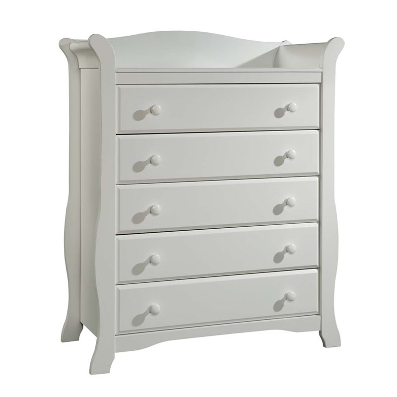 Stork Craft Avalon 5 Drawer Universal Dresser in White