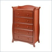 Stork Craft Aspen 5 Drawer Chest in Cognac Brown Finish