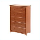 Stork Craft Beatrice 5 Drawer Chest in Cognac Brown Finish
