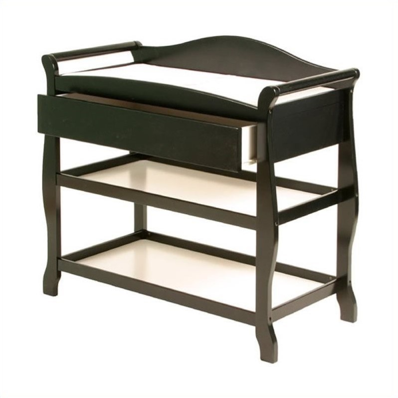Aspen Sleigh Changing Table with Drawer in Black