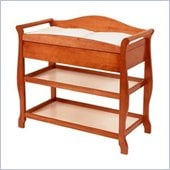Stork Craft Aspen Sleigh Changing Table with Drawer in Cognac Brown