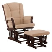 Stork Craft Tuscany Cherry & Beige Glider & Ottoman