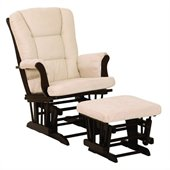 Stork Craft Tuscany Espresso & Beige Glider & Ottoman