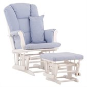 Stork Craft Tuscany Glider and Ottoman with Free Lumbar Pillow in White with Blue cushions