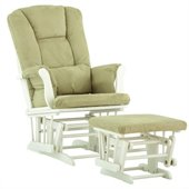 Stork Craft Tuscany Glider and Ottoman with Free Lumbar Pillow in White with Sage cushions
