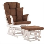 Stork Craft Tuscany Glider and Ottoman with Free Lumbar Pillow in White with Chocolate cushions