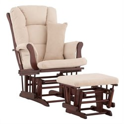 Stork Craft Tuscany Glider and Ottoman in Cherry with Beige Cushions