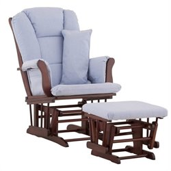 Stork Craft Tuscany Glider and Ottoman in Cherry with Blue Cushions