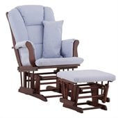 Stork Craft Tuscany Glider and Ottoman with Free Lumbar Pillow in Cherry with Blue cushions