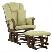 Stork Craft Tuscany Glider and Ottoman with Free Lumbar Pillow in Cherry with Sage cushions