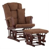 Stork Craft Tuscany Glider and Ottoman with Free Lumbar Pillow in Cherry with Chocolate cushions