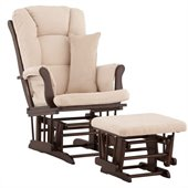Stork Craft Tuscany Glider and Ottoman with Free Lumbar Pillow in Espresso with Beige cushions