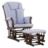 Stork Craft Tuscany Glider and Ottoman with Free Lumbar Pillow in Espresso with Blue cushions