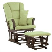 Stork Craft Tuscany Glider and Ottoman with Free Lumbar Pillow in Espresso with Sage cushions