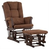 Stork Craft Tuscany Glider and Ottoman with Free Lumbar Pillow in Espresso with Chocolate cushions