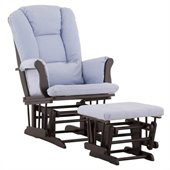 Stork Craft Tuscany Glider and Ottoman with Free Lumbar Pillow in Black with Blue cushions