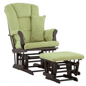 Stork Craft Tuscany Glider and Ottoman with Free Lumbar Pillow in Black with Sage cushions