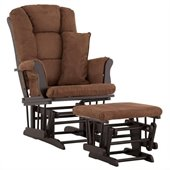 Stork Craft Tuscany Glider and Ottoman with Free Lumbar Pillow in Black with Chocolate cushions