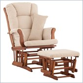 Stork Craft Tuscany Glider and Ottoman with Free Lumbar Pillow in Cognac with Beige cushions