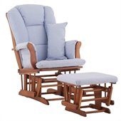 Stork Craft Tuscany Glider and Ottoman with Free Lumbar Pillow in Cognac with Blue cushions